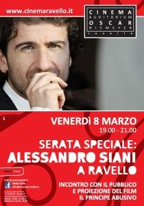 La locandina dell'evento di Venerdì 8 marzo: Serata  speciale con Alessandro Siani